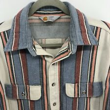 Carhartt Blanket Shirt Sz 2XL Flannel Blue Cream Stripe (tiny hole)