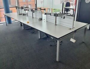 6 part BENCH DESK system in WHITE on grey
