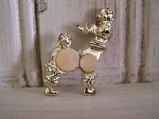 Vintage Gold & Pink Poodle Pup Dog Pin Brooch ~ Crystal Eye & Mother of Pearl
