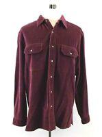 The Territory Ahead Mens Large Burgundy Cotton Ribbed Corduroy Long Sleeve Shirt