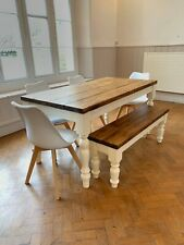 Quebec Pine Plank Top Dining Table & Bench With Chairs (painted in your colour)