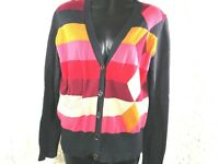Cabi #171 M womens cotton button up cardigan sweater stripe argyle color block