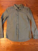 ARMANI EXCHANGE  Slim Fit Gray Striped Casual Shirt Snap Front Men's Medium