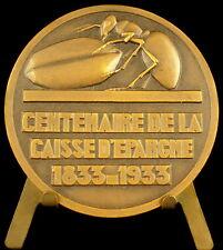 Médaille Centenaire de la Caisse d'Epargne 1933 fourmie insecte insect ant medal