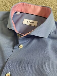 WORN ONCE ETON CONTEMPORARY FIT CUTAWAY COLLAR BLUE DOG TOOTH SHIRT 16.5 16 1/2