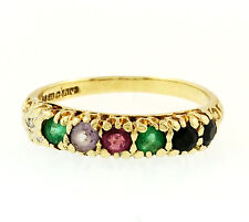 9Ct Yellow Gold 'D.E.A.R.E.S.T' Multi Stone Eternity Ring (Size L) 3mm Wide
