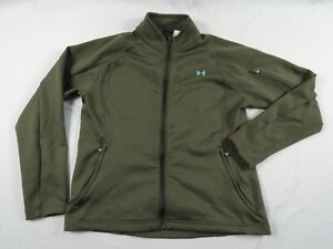 Under Armour Womens Active Fleece Jacket Size Large Green Full Zip Pockets L