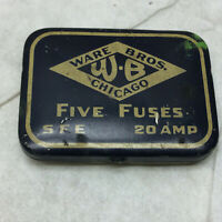 Vintage Ware Bros. Chicago W-B Tin ONLY Five Fuses