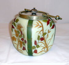 French Art Nouveau glass box / biscuit box with metal mount