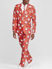 SUITMEISTER Mens M (38-40) Red Ugly Christmas Santa Suit Jacket/Pants/Tie NEW