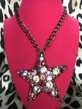 Betsey Johnson Confetti HUGE Clear Lucite Star Purple Pink Blue Crystal Necklace