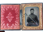 1/4 Plate Tintype Of Armed Union Soldier-Beautiful Image for sale