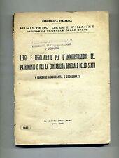 LEGGE REGOLAMENTO AMMINISTRAZIONE PATRIMONIO CONTABILITÀ GENERALE STATO # 1947