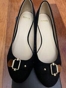 Novo Viera Black Buckle Closed Shoe Low Heel Wedge  - New In Box- Size 8 - EU 39