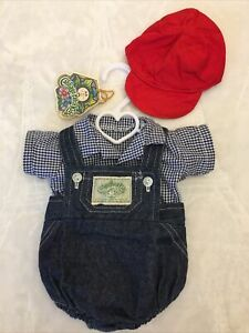 Authentic Vintage Cabbage Patch Kids Clothes Doll CPK Outfit Overalls Denim Hat