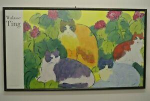 "LARGE WALASSE TING PRINT 4 CATS PRINT FRAMED 26 x 48"""