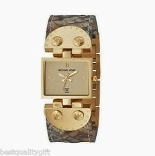 NEW-MICHAEL KORS BEIGE,BROWN PYTHON LEATHER+GOLD TONE BRACELET WATCH MK2114+BOX