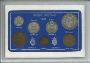 1927 GB Great Britain British Vintage Coin Set (94th Birthday Gift Birth Year)