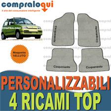 per FIAT CINQUECENTO TAPPETINI AUTO SU MISURA in VELLUTO BEIGE + 4 RICAMI TOP