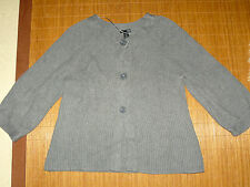 H&M graue Ripp Strick Jacke Cardigan Damen L A-Linie 3/4 Arm Winter dich TOP  #3