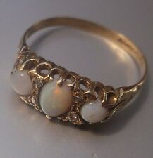 Ladies Vintage 9ct Gold Quality Opal & Diamond Ring Size N 1/2 Stamped W1.71g