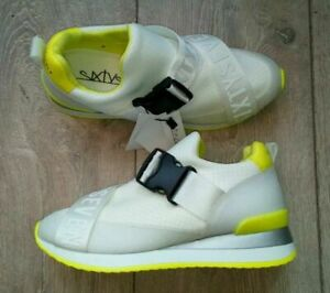 New Sixty SEVEN Shine White Neon Yellow Women's Trainers Size 4 UK Fast Delivery