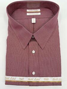 Gold Label Men's Dress Shirt Size 22 34/35 Brick Red Striped Roundtree Yorke New