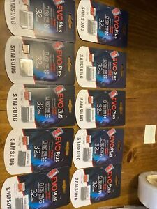 LOT OF 10 Samsung EVO Plus 32GB MicroSD Micro SDHC C10 Flash Memory Card