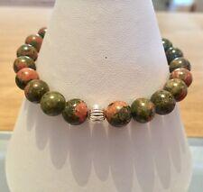 Handmade Genuine Gemstone Jewellery, Unakite stretchy bracelet.