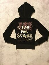 Juicy Couture Women's Velour Hooded Tracksuit Zip Up Jacket Size XSmall Black