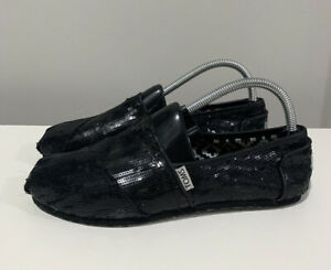 Toms Women's Size 9 Black Sequin Flats Slip On Shoes Glittery Shimmer Sequence