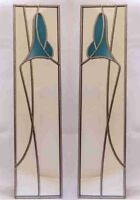10x40cm pair Lily Stained Glass effect mirror Handmade in the UK