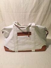 Unisex Canvas Tote Bag Crossbody White/Tan with bonus cosmetic bags