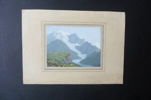 FRENCH SCHOOL 19thC - ALPINE LANDSCAPE MONT BLANC - WATERCOLOR SIGN. SIMONE
