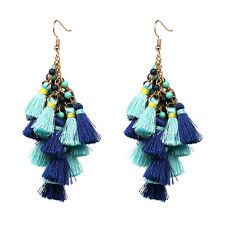 Rosalita Tassel Earrings Cluster Luxury Chunky Layering Drop Fringe Beaded Wavy