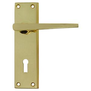 FRONT DOOR HANDLE KNOB BRASS KEY HOLE DOORHANDLE Lever loc PB 150 X 43mm