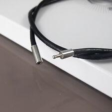 """16 in (ca. 40.64 cm) 16"""" 40 cm Nera in Pelle Collana 3 mm cavo connettore non Allergia Peltro"""