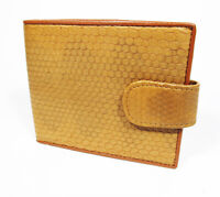 New Genuine Leather Sea Snake Men Bi-fold Strap Wallet.