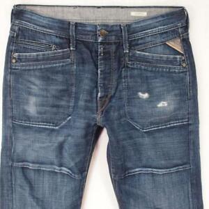 Hommes Replay M962 JOMMER Regular Straight Bleu Jeans W34 L34