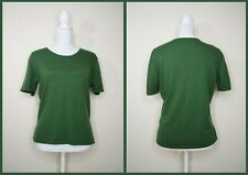 Vintage St. Michael Pure new wool pullover jumper short sleeve forest green 12
