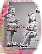 Vintage 40s Knitting Pattern Childs 'diamond' Fair Isle Jumper & Cardigan Set