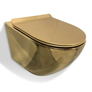GOLDEN TOILET WALL HUNG COMPACT RIMLESS GOLD WC WITH SLIM SOFT CLOSING SEAT