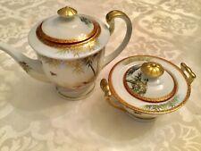 RARE 17th C. Signed Kutani Japan Porcelain Gilt Teapot And Sugar