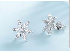 Women 925 Sterling Silver Snowflake Earrings Ear Studs Stud Xmas Gift Bridal UK