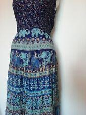 tie waist elephant print maxi long sleeveless dress 12 high neckline patterned