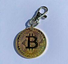 ★ Bitcoin Münze Schlüsselanhänger Gold mit Karabinerhaken Karabiner vergoldet ★
