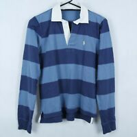RALPH LAUREN Womens Blue Striped Collared Cotton Polo Shirt SIZE Small, S