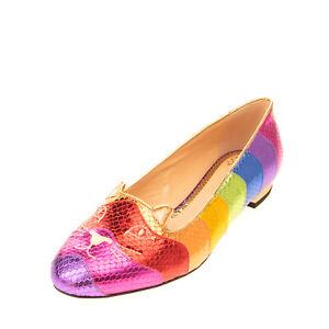 RRP€550 CHARLOTTE OLYMPIA Leather Ballerina Shoes EU39 UK6 US9 Rainbow Cat Face