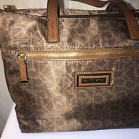 Authentic Calvin Klein Womens Faux Leather CK Logo Handbag Purse Brown
