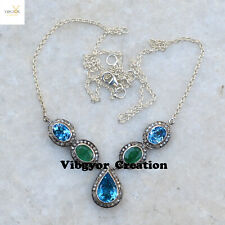 """Blue Topaz Emerald Necklace 18""""Link Chain 925 Solid Silver Diamond Wedding Gift"""